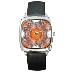 Seamless Background Fractal Square Leather Watch