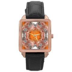 Seamless Background Fractal Rose Gold Leather Watch