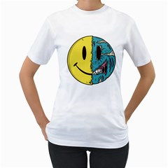 Smiley Two Face Womens  T Shirt (white)