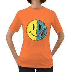 Smiley Two Face Womens' T-shirt (Colored)
