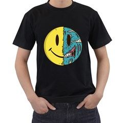 Smiley Two Face Mens' T-shirt (Black)