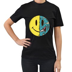 Smiley Two Face Womens' T-shirt (Black)