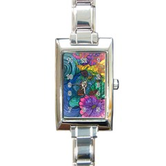 Beauty Blended Rectangular Italian Charm Watch