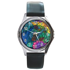 Beauty Blended Round Metal Watch (Silver Rim)