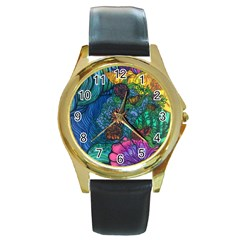 Beauty Blended Round Metal Watch (gold Rim)