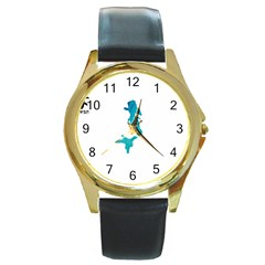 Ocean Round Metal Watch (gold Rim)