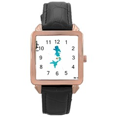 Ocean Rose Gold Leather Watch