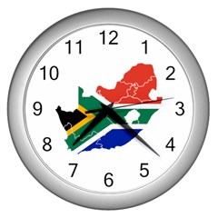 South Africa Flag Map Wall Clock (Silver)
