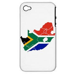 South Africa Flag Map Apple iPhone 4/4S Hardshell Case (PC+Silicone)