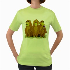 monkeys, as usual. Womens  T-shirt (Green)