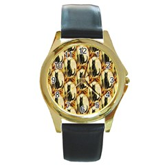 A Merry Hallowe en  Round Metal Watch (Gold Rim)