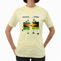 puzzle - couple  Womens  T-shirt (Yellow)