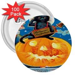 Hallowe en Precautions  3  Button (100 pack)