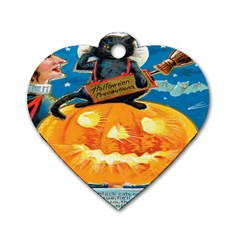 Hallowe en Precautions  Dog Tag Heart (Two Sided)