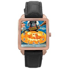 Hallowe en Precautions  Rose Gold Leather Watch