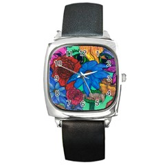 Creepy Beauty Square Leather Watch