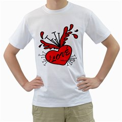 Love Hurt Mens  T Shirt (white)