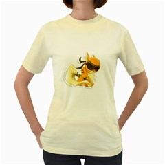 Kitty  Womens  T Shirt (yellow)