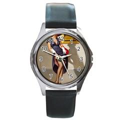 Retro Pin-up Girl Round Metal Watch (Silver Rim)