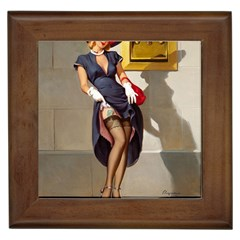 Retro Pin Up Girl Framed Ceramic Tile