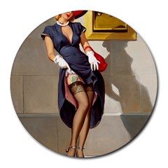 Retro Pin-up Girl 8  Mouse Pad (Round)