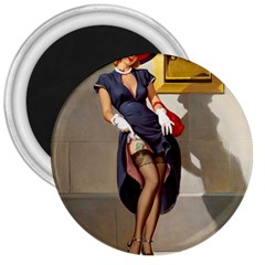 Retro Pin-up Girl 3  Button Magnet