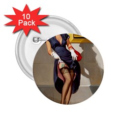 Retro Pin Up Girl 2 25  Button (10 Pack)
