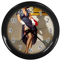 Retro Pin-up Girl Wall Clock (Black)