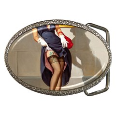 Retro Pin Up Girl Belt Buckle (oval)