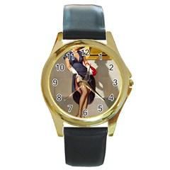 Retro Pin-up Girl Round Metal Watch (Gold Rim)