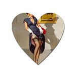 Retro Pin-up Girl Magnet (Heart) Front
