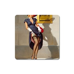 Retro Pin Up Girl Magnet (square)