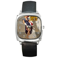 Retro Pin-up Girl Square Leather Watch