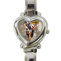 Retro Pin-up Girl Heart Italian Charm Watch