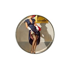 Retro Pin-up Girl Golf Ball Marker 4 Pack (for Hat Clip)