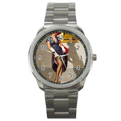 Retro Pin Up Girl Sport Metal Watch