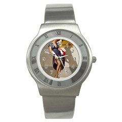 Retro Pin-up Girl Stainless Steel Watch (Unisex)