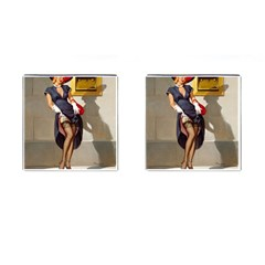 Retro Pin-up Girl Cufflinks (Square)