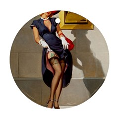 Retro Pin Up Girl Round Ornament (two Sides)