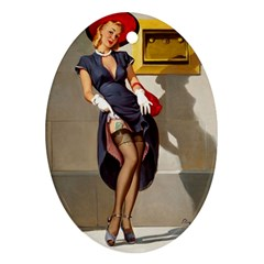 Retro Pin-up Girl Oval Ornament (Two Sides)