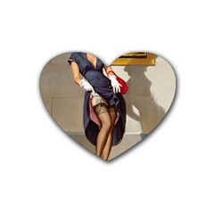 Retro Pin Up Girl Drink Coasters 4 Pack (heart)