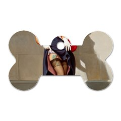 Retro Pin-up Girl Dog Tag Bone (Two Sided)