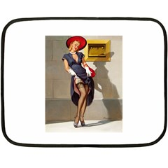 Retro Pin-up Girl Mini Fleece Blanket (Two-sided)