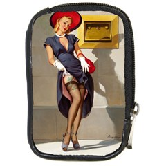 Retro Pin-up Girl Compact Camera Leather Case