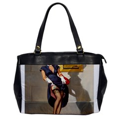 Retro Pin Up Girl Oversize Office Handbag (one Side)
