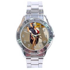 Retro Pin-up Girl Stainless Steel Watch (Men s)