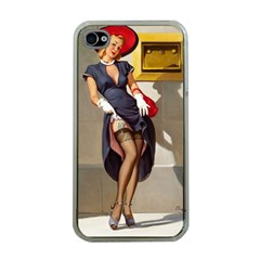 Retro Pin Up Girl Apple Iphone 4 Case (clear)