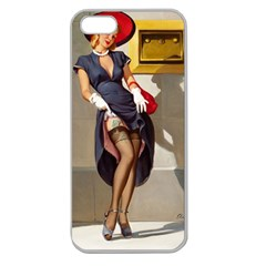 Retro Pin-up Girl Apple Seamless iPhone 5 Case (Clear)