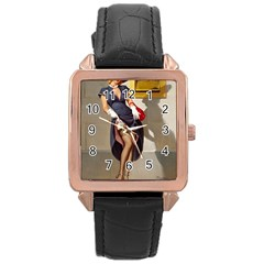 Retro Pin Up Girl Rose Gold Leather Watch