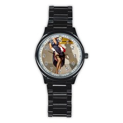 Retro Pin Up Girl Sport Metal Watch (black)